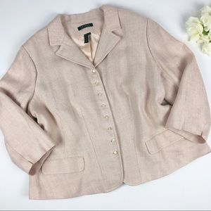 Lauren Ralph Lauren Pink Tweed Linen Jacket 20W